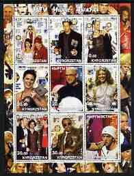 Kyrgyzstan 2002 MTV Music Awards perf sheetlet containing 9 values unmounted mint (shows Kylie, Eminem, etc)