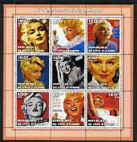 Ivory Coast 2002 Marilyn Monroe 40th Death Anniversary #3 perf sheetlet containing 9 values unmounted mint