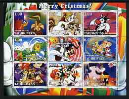 Tadjikistan 2002 Looney Tunes Merry Christmas perf sheetlet containing 9 values unmounted mint