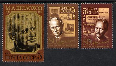 Russia 1985 Mikhail Aleksandrovich (Writer) set of 3 unmounted mint, SG 5558-60
