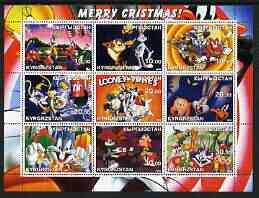 Kyrgyzstan 2002 Looney Tunes Merry Christmas #2 perf sheetlet containing 9 values unmounted mint