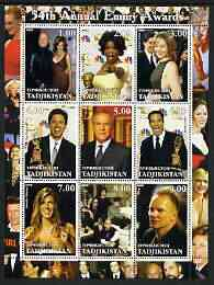 Tadjikistan 2002 54th Annual Emmy Awards perf sheetlet containing 9 values unmounted mint (showing Oprah Winnfrey, the Osbournes, Sting, etc)