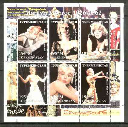 Turkmenistan 1999 Marilyn Monroe perf sheetlet containing set of 6 values unmounted mint
