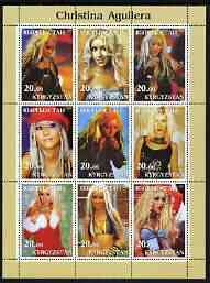 Kyrgyzstan 2003 Christina Aguilera perf sheetlet containing 9 values unmounted mint