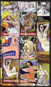 Chad 2003 Nudes in Art by Henri Matisse perf sheetlet containing 6 values unmounted mint