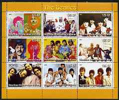 Congo 2003 The Beatles (Colour) perf sheetlet containing 9 values, unmounted mint