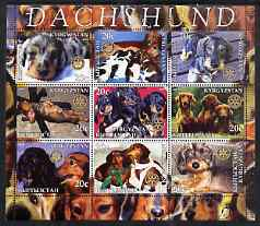 Kyrgyzstan 2004 Dogs - Dachshunds perf sheetlet containing 9 values each with Rotary Logo, unmounted mint