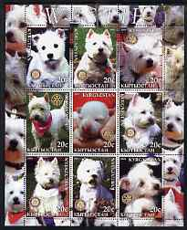 Kyrgyzstan 2004 Dogs - Westies perf sheetlet containing 9 values each with Rotary Logo, unmounted mint