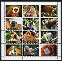 Kalmikia Republic 2001 Monkeys perf sheetlet containing set of 12 values unmounted mint