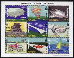 Mongolia 2001 Modern Transport perf sheetlet containing 9 values unmounted mint