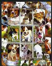 Kyrgyzstan 2004 Dogs - Jack Russell perf sheetlet containing 9 values each with Rotary logo unmounted mint