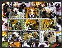 Kyrgyzstan 2004 Dogs - English Bulldog perf sheetlet containing 9 values each with Rotary logo unmounted mint, stamps on dogs, stamps on rotary