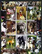 Kyrgyzstan 2004 Dogs - Great Dane perf sheetlet containing 9 values each with Rotary logo unmounted mint