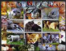 Kyrgyzstan 2004 Domestic Cats - British Shorthair perf sheetlet containing 9 values each with Rotary logo unmounted mint