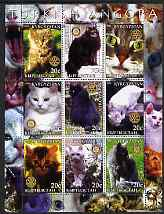 Kyrgyzstan 2004 Domestic Cats - Turkish Angora perf sheetlet containing 9 values each with Rotary logo unmounted mint