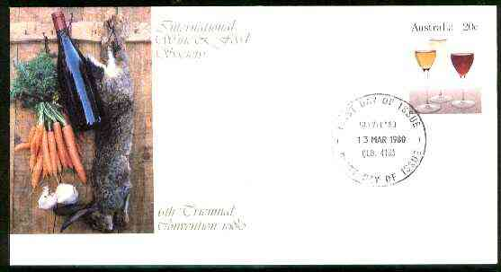 Australia 1980 International Wine & Food Society 20c postal stationery envelope with first day cancellation