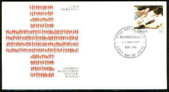 Australia 1979 50th Anniversary of Blood Donor Service 20c postal stationery envelope with Special first day cancellation