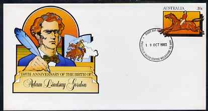 Australia 1983 Birth Anniversary of Adam Lindsay Gordon (Horseman & Poet) 30c postal stationery envelope with first day cancellation
