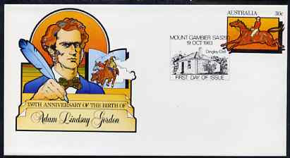 Australia 1983 Birth Anniversary of Adam Lindsay Gordon (Horseman & Poet) 30c postal stationery envelope with special illustrated first day cancellation