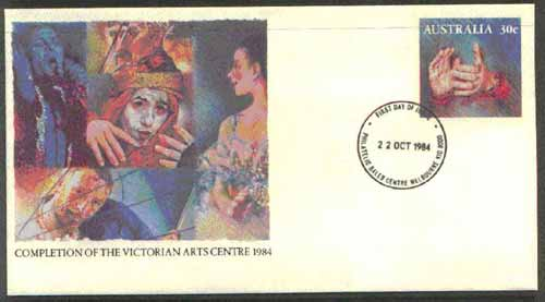 Australia 1984 Completion of Victorian Arts Centre 30c postal stationery envelope with first day cancellation