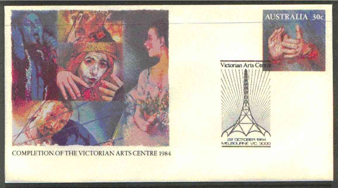 Australia 1984 Completion of Victorian Arts Centre 30c postal stationery envelope with special illustrated first day cancellation