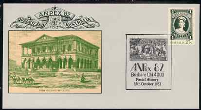 Australia 1982 Anpex 82 Stamp Exhibition 27c postal stationery envelope with special cancellation for 15th October (Postal History Day)