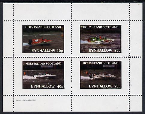 Eynhallow 1982 Speed Boats (advertising Shell Oil, Marlboro Cigarettes, etc) perf set of 4 values (10p to 75p) unmounted mint