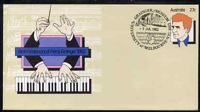 Australia 1982 Birth Centenary of Percy Grainger 27c postal stationery envelope with Special 'Museum' cancellation, stamps on music     composer     museums