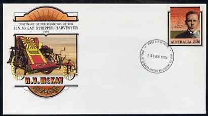 Australia 1984 Centenary of McKay's Invention of the Stripper Harvester 30c postal stationery envelope with first day cancellation