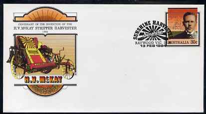 Australia 1984 Centenary of McKay's Invention of the Stripper Harvester 30c postal stationery envelope with special illustrated 'Harvester' first day cancellation