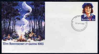Australia 1985 75th Anniversary of Guiding 33c postal stationery envelope with first day cancellation