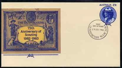 Australia 1982 75th Anniversary of Scouting 27c postal stationery envelope with first day cancellation
