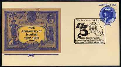 Australia 1982 75th Anniversary of Scouting 27c postal stationery envelope with special 'Baden Powell Stamp Exhibition'  cancellation