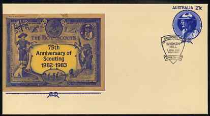 Australia 1982 75th Anniversary of Scouting 27c postal stationery envelope with special 'Broken Hill Gemboree'  cancellation