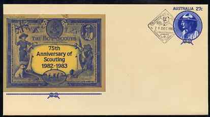 Australia 1982 75th Anniversary of Scouting 27c postal stationery envelope with special