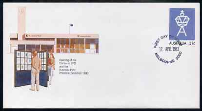Australia 1983 Canberra PO & Stamp Exhibition 27c postal stationery envelope with first day cancellation