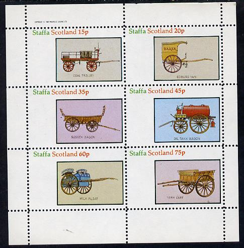 Staffa 1982 Horse Drawn Wagons (Coal Trolley, Oil Tank, Milk Float, etc) perf set of 6 values (15p to 75p) unmounted mint
