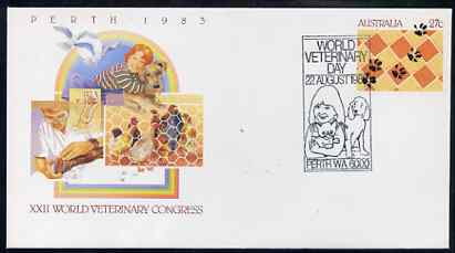 Australia 1983 World Vetenary Congress 27c postal stationery envelope with Special illustrated World Vetenary Day cancellation