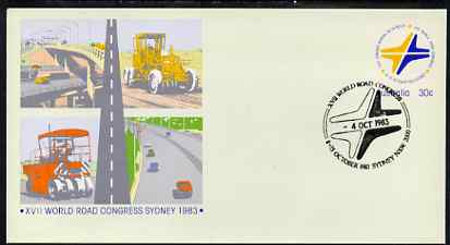 Australia 1983 World Road Congress 30c postal stationery envelope with special illustrated first day cancellation