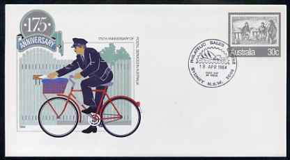 Australia 1984 175th Anniversary of Postal Services 30c postal stationery envelope (Postman on bicycle) with first day cancellation