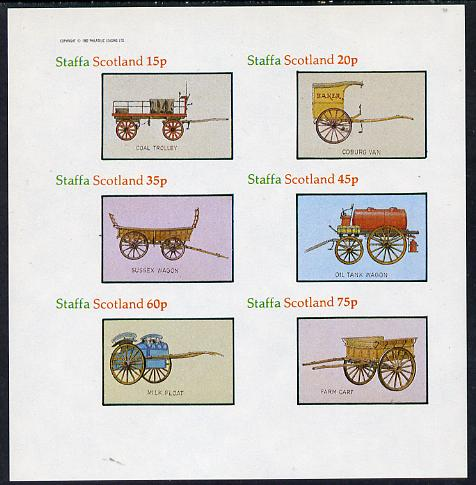 Staffa 1982 Horse Drawn Wagons (Coal Trolley, Oil Tank, Milk Float, etc) imperf set of 6 values (15p to 75p) unmounted mint