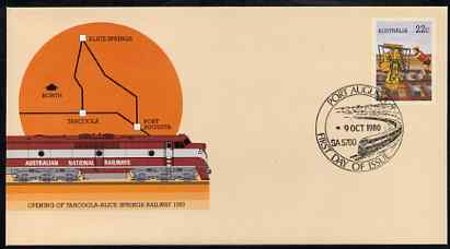 Australia 1980 Tarcoola-Alice Springs Railway 22c postal stationery envelope with special illustrated 'Port Augusta' first day cancellation