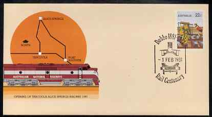 Australia 1980 Tarcoola-Alice Springs Railway 22c postal stationery envelope with special illustrated Dubbo Rail Centenary cancellation