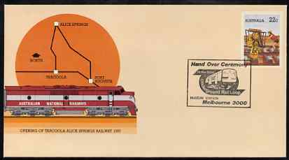 Australia 1980 Tarcoola-Alice Springs Railway 22c postal stationery envelope with special illustrated Melbourne Underground Hand Over Ceremony cancellation