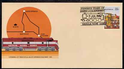 Australia 1980 Tarcoola-Alice Springs Railway 22c postal stationery envelope with special illustrated Railway Local Government Centenary cancellation