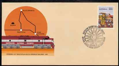 Australia 1980 Tarcoola-Alice Springs Railway 22c postal stationery envelope with special illustrated Historical Railway Society cancellation