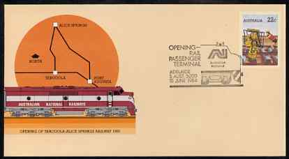 Australia 1980 Tarcoola-Alice Springs Railway 22c postal stationery envelope with special illustrated Opening of Adelaide Rail Passenger Terminal cancellation