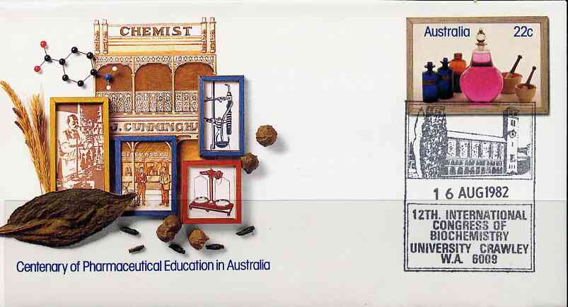 Australia 1981 Centenary of Pharmaceutical Education 22c postal stationery envelope with special illustrated 'Biochemistry Conference' cancellation