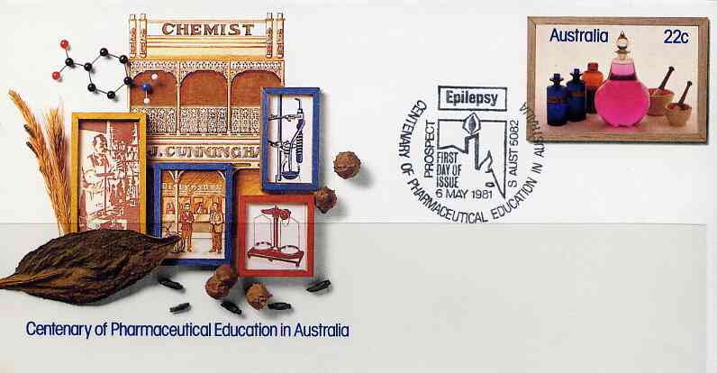 Australia 1981 Centenary of Pharmaceutical Education 22c postal stationery envelope with special illustrated