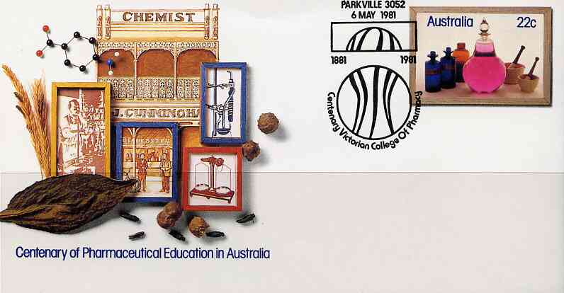 Australia 1981 Centenary of Pharmaceutical Education 22c postal stationery envelope with special illustrated 'Parkville College Centenary' cancellation